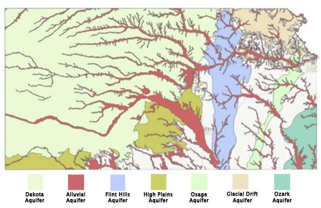 Kansas Hydrology.  Credit: http://www.kgs.ku.edu/Hydro/hydroIndex.html