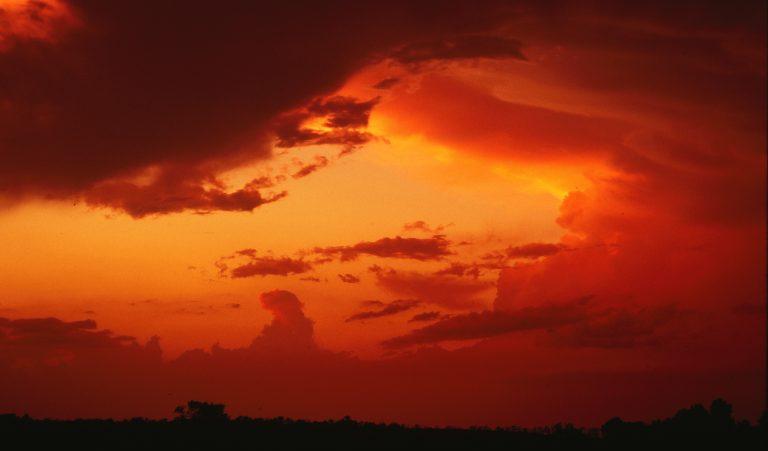 Blazing sunset over the prairie, northwest of Osage City